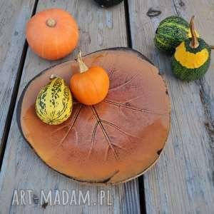 ceramika patera dekoracyjna - liść ceramiczny złota jesień, ceramika