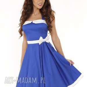 piękna rozkloszowana sukienka pin up niebieska, retro