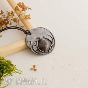 wisior inspirowany naturą z ceramiką - wisior, wisiorek, medalion, ceramika, boho