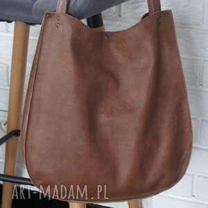 hand-made na ramię pojemna torba hobo z brązowo - rudej skóry naturalnej