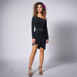 cindy - asymetryczna sukienka, asymetryczna, drapowana, elastyczmna