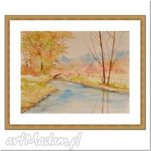 pejzaż jesienny, akwarela, pejzaż, rzeka, mostek, natura