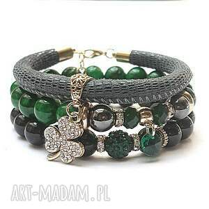 Emerald and greyvol. 2 /16.05.17/ set, jadeity, marmur, shamballa, skóra, rzemień