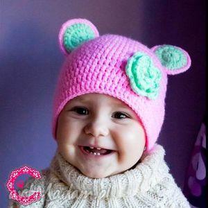 czapka myszka, czapka, szydełkowa, dziecięca, miś, kwiatuszek