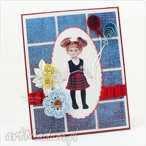 laleczka z balonikami - lalka, balony, kwiaty, dziewczynka, kartka, urodziny