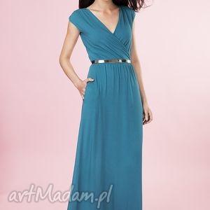 Długa kopertowa suknia z dzianiny , sukienka, dluga, suknia, dzianina, elegancka