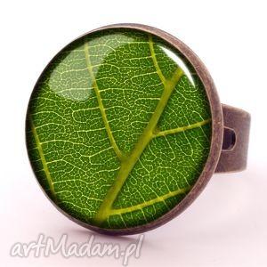 Liść - Pierścionek regulowany - ,liść,pierścionek,regulowany,naturalny,listek,prezent,