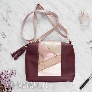 Mia coffre bag maroon&rose gold torebki black pearl cat połyskująca torebka, torebka