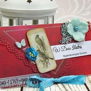 ręcznie wykonane scrapbooking kartki kopertówka ślubna- ptasi ogród