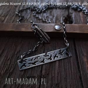 PRZYLECIAŁY srebrny naszyjnik z ptakami, srebro, oksydowane, piórko, srebrna-blaszka,