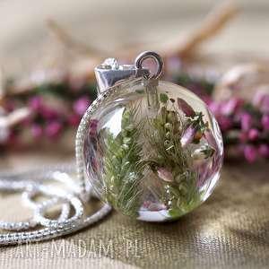 Naszyjnik z żywicy i srebra Łąka, żywica, kwiaty, różowy, roślinny, srebrny