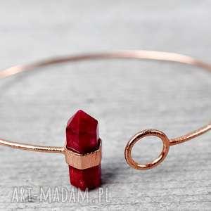 RUBIN 925 /18k Różowo pozł. bransoletka - ,kamień,rubin,pozłacana,srebro,925,kobieca,