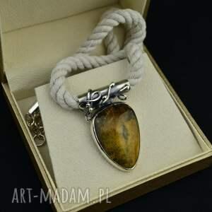 handmade naszyjniki kolia vintage z bursztynem srebro