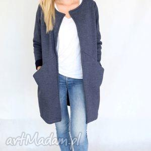 płaszc długi narzutka s - m jeans - bawełna, dzianina, wiosna, eko