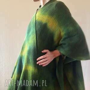 płaszcze wełniany kardigan/ponczo w zieleniach i kapką musztardy, kardigan