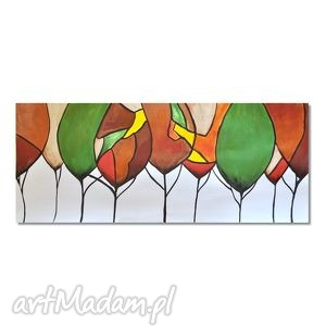 drzewa, abstrakcja, obraz ręcznie malowany, obraz, ręcznie, drzewa