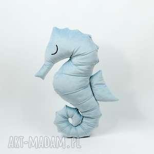 hand made maskotki poduszka przytulanka konik morski - niebieski aksamit
