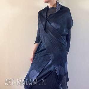 handmade szaliki lniany czarny szal z kapką grafitu