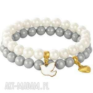 white & gray pearl with pendants - ptaszek, serce