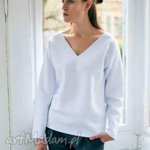 VELVET WHITE Oversize Bluza, oversize, bluza, dekolt, biały, casual, bawełna