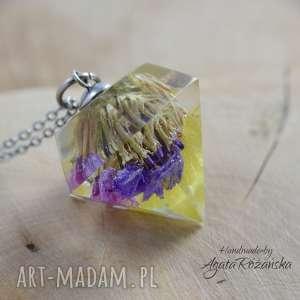 Wisiorek diament z kolorowymi kwiatami zatrwianu, stal