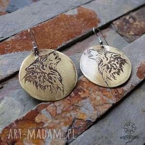 kolczyki duże z trawionego mosiądzu - wilki 159, wilk, wilki
