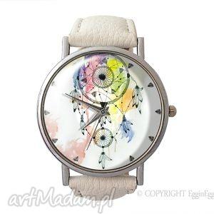 Dreamcatcher - Skórzany zegarek z dużą tarczą , zegarek, skórzany, dreamcatcher