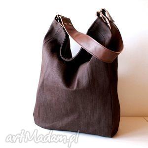 iks dżins brąz brąz, torba, torebka, worek, dżins, jeans torebki