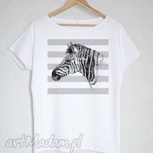 Prezent ZEBRA koszulka bawełniana S/M biała, bluzka,