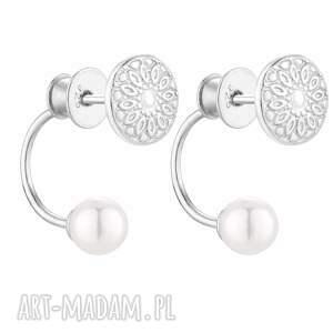 srebrne kolczyki medaliony z perłami swarovski® crystal