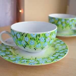 ręcznie zrobione ceramika filiżanki dla pary niezapominajki malowane