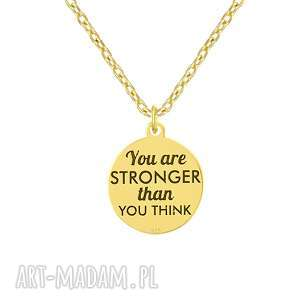 naszyjnik z napisem you are stronger than you think lavoga - pozłacane