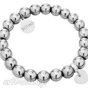 bransoletka modowa hematyt z zawieszką serce srebro 925, fashion