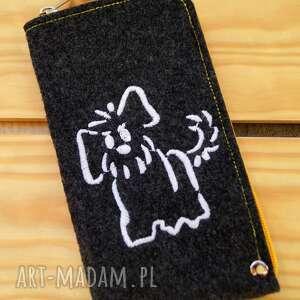 Filcowe etui na telefon - doggie happyart smartfon, pokrowiec