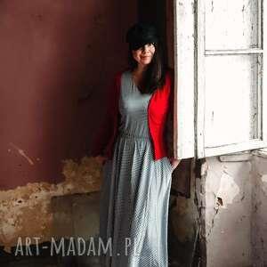 sukienki pepitkowa sukienka, maxi, wiosenna, zbluzowana, minimalistyczna