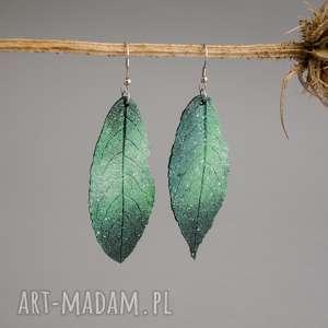 Kolczyki zielone liście, kolczyki, lekkie, liść, natura, boho