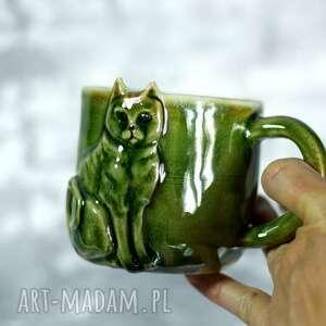 ceramika handmade ceramiczny kubek z kotem - zielony 350 ml