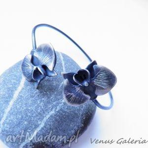 Bransoletka srebrna - Orchidea mała oksydowana, biżuteria, srebro, bransoletki