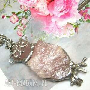 naszyjnik sowa z kwarcem różowym, sowa, kwarc różowy, naturalny kamień
