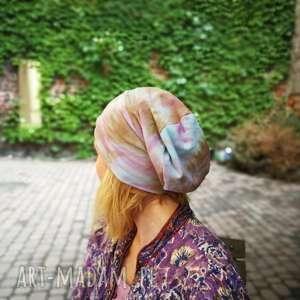 czapka kolorowa bawełna dzianina lato farbowana, sport, rower, etno, damska, boho