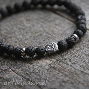męska bransoletka buddha black lava iii, chłopak, mąż, on, budda biżuteria