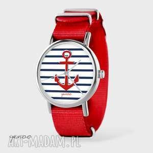 zegarek, bransoletka - kotwica czerwony, nato, bransoletka, kotwica, nato