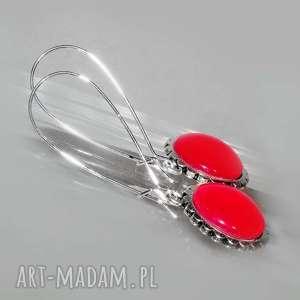 Długie kolczyki z czerwonym szkłem, wiszące, kolczyki, długie, karminowe, szklane