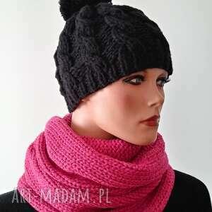 pod choinkę prezent, handmade czapka czarna, hand made, zimowa