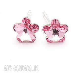 kolczyki swarovski kwiatuszki srebrne 925 wkrętki różowe, wkrętki
