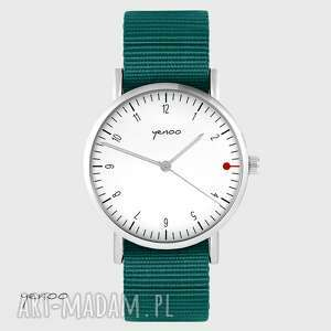 zegarki zegarek yenoo - simple, biały morski, unisex, zegarek, pasek militarny