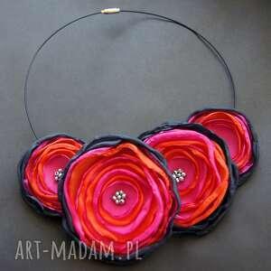 naszyjniki piwonie mandarynki w różu, kwiaty, lekki, okazały, modny, wystawny