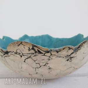 Sardynia artystyczna miska, dekoracyjna, misa, ceramiczna, na-owoce, turkusowa
