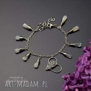 hand made bransoletka regulowana serce z kamieniami księżycowymi, stal