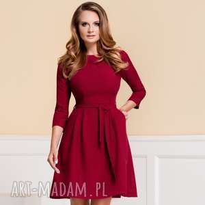 sukienki sukienka monica ii rubinowa, do pracy, czerwona